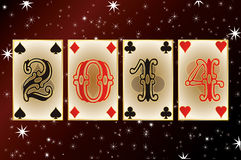 2014 New Year poker style. Vector illustration Stock Photos