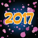 New year 2017 pop art background. Retro vector royalty free illustration
