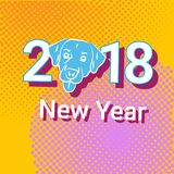 New Year 2018 Pop Art Retro Banner With Dog Holiday Decoration Design Stock Photos