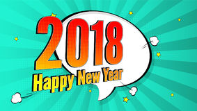 New Year pop art splash background, explosion in comics book style. 2018 holiday advertising signboard with halftone Stock Photos