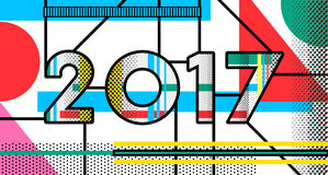 2017 New Year pop art typography retro design Royalty Free Stock Photography