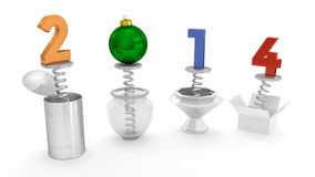 New Year 2014 - Pop Up Out of Various Containers Royalty Free Stock Photography