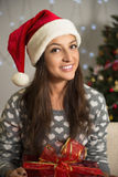 New Year. Portrait of a beautiful cheerful woman. Stock Image