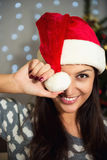 New Year. Portrait of a beautiful cheerful woman. Royalty Free Stock Image