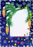 New Year postcard. New Year or Christmas background with branches of fir vector illustration