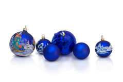 New year postcard. Christmas and New Year decorative balls with handmade painting Royalty Free Stock Photo