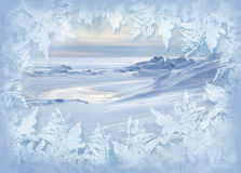 New Year Postcard. A view trough the frozen glass Royalty Free Stock Photo