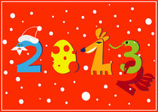 New year postcard. Funny New Year postcard with animals and numbers 2013 Stock Images