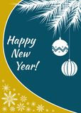 New Year postcard or banner with yellow and blue colors and white balls, snowflake and Christmas tree branch. Holiday postcard or banner with yellow and blue vector illustration