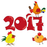 New year postcard 2017 with the cock. Illustration of rooster, symbol of 2017 on the Chinese calendar. element for New Year`s design. Image of 2017 year of Red Royalty Free Stock Images