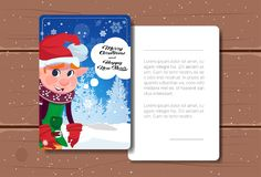 New Year Postcard With Copy Space Decorated With Green Cute Elf Merry Christmas Card Concept. Flat Vector Illustration vector illustration