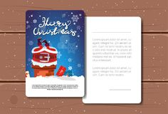 New Year Postcard With Copy Space Decorated With Santa Stuck In Chimney Merry Christmas Card Concept. Flat Vector Illustration vector illustration