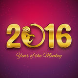 New Year postcard design, gold text with monkey symbol, year of the monkey 2016 design, postcard, greeting card, banner Stock Images