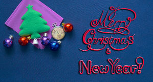 New Year postcard with festival decoration and congratulatory inscription Royalty Free Stock Photos