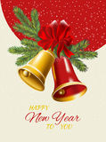 New Year postcard. Golden and red Christmas bells. Royalty Free Stock Image