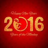New Year postcard with golden text, year of the monkey, year 2016 design. Illustration Stock Photo