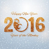 New Year postcard with golden text, year of the monkey, year 2016 design, vector illustration. Cute New Year postcard with golden text, year of the monkey, year Royalty Free Stock Image