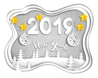 2019 new year postcard from layers of paper Vector Illustration