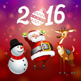 New Year postcard. Postcard Merry Сhristmas and Happy New Year 2016 stock illustration