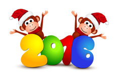 New Year 2016. Postcard with monkeys. On a white background Stock Photos