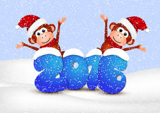 New Year 2016. Postcard with monkeys on a white. Background.Vector illustration royalty free illustration