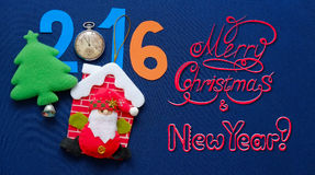 New Year postcard with Santa Claus, herringbone and congratulatory inscription Stock Image