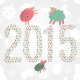 2015 new year postcard with sheeps Royalty Free Stock Image