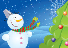 New year postcard with snowman. Vector new year postcard with cartoon snowman and nice tree Stock Image