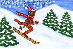 New year postcard with tiger Royalty Free Stock Photos