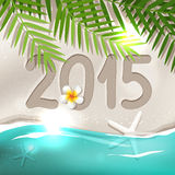 2015 New Year postcard. From tropical country, holiday on the beach with blue sea, frangipani flower, white sand, palm tree leaves Royalty Free Stock Photos