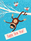 New Year postcard. Vector New Year postcard with funny monkey stock illustration