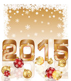 New 2015 year postcard with xmas balls. Vector illustration Royalty Free Stock Image