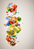 New year poster. Happy new year banner with colorful gifts Royalty Free Stock Photos