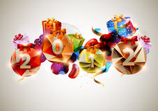 New year poster. Happy new year banner with colorful gifts stock illustration