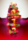 New year poster . Red ribbon with christmas toys and gifts royalty free illustration