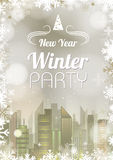 New Year poster. Abstract holiday Christmas golden backgroud Stock Photos