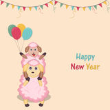 New Year poster or banner in kiddish way. Happy New Year celebration concept with baby and mother sheep, balloons and stylish text stock illustration