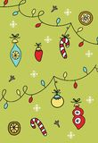 New Year poster - Christmas tree with decorations. Color vector illustration.  stock illustration
