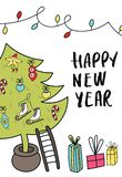 New Year poster - Christmas tree with decorations, gift boxes and hand drawn lettering. Cute New Year vector illustration stock illustration