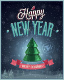New Year Poster with Christmas tree. Royalty Free Stock Image