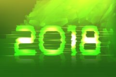 2018 New Year! Poster cyber. 2018. Electronic effect, fuzzy, neon. Acidic background Royalty Free Stock Photo