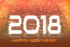 2018  New Year! Poster cyber. Magic background. 2018 New Year! Poster cyber 2018. Electronic effect, fuzzy, neon. Magic background Stock Image