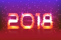 2018 New Year! Poster cyber. 2018. Electronic effect, fuzzy, neon. Starry Background Royalty Free Stock Photos