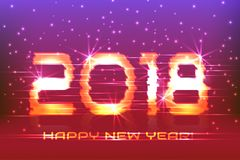 2018 New Year! Poster cyber. 2018. Electronic effect, fuzzy, neon. Starry Background Royalty Free Stock Image