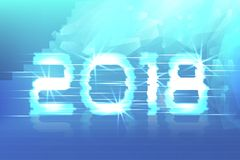 2018  New Year! Poster cyber. Magic background. 2018 New Year! Poster cyber 2018. Electronic effect, fuzzy, neon. Magic background Stock Images