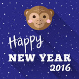 New Year 2016 poster design with little chimp and Stock Image