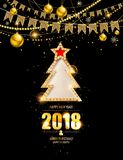 New year poster with a gold tree. Merry christmas and happy new year fancy gold xmas tree in hipster low poly triangle style. Ideal for greeting card or elegant Vector Illustration