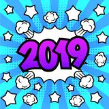 New Year 2019 poster. Happy New Year 2019 poster. Comic book style. Pop art bright background. Vector, isolated, eps 10 vector illustration
