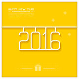 New Year Poster 2016 Line Art Design Vector Stock Photo