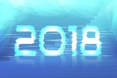 2018 New Year! Poster. Cyber 2018. Electronic effect, fuzzy, neon. Ice, winter background Royalty Free Stock Photo